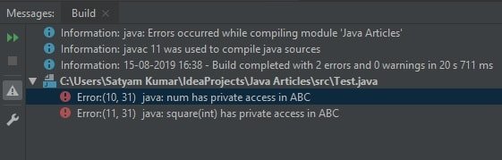 Private access modifier